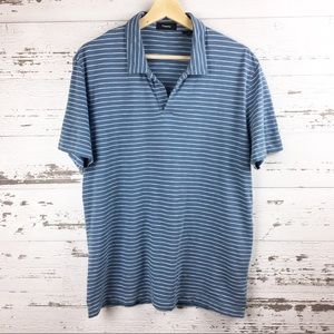 THEORY Blue and White Stripe Collar Shirt Top